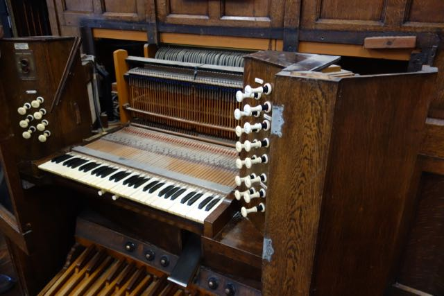 The Memorial Organ Console partially dismantled