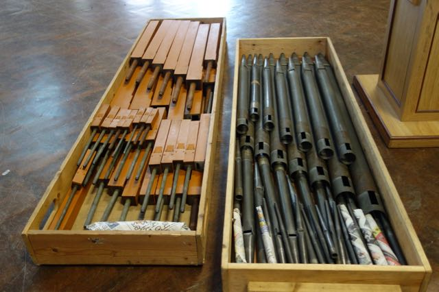 Pipes from the Memorial Organ packaged for transport